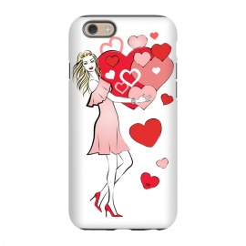 iPhone 6/6s  Queen of Hearts by Martina (love,heart,woman,girl,valentine,valentines day,stylish,modern,cute,feminine,girly,illustration)