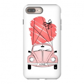 iPhone 8/7 plus  Love Car by Martina (love,heart,valentine,valentines day,car,beetle,volkswagen,pink,pastel,feminine,girly,modern,stylish,illustration,travel,traveling)