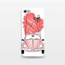 iPhone 5/5E/5s  Love Car by Martina (love,heart,valentine,valentines day,car,beetle,volkswagen,pink,pastel,feminine,girly,modern,stylish,illustration,travel,traveling)