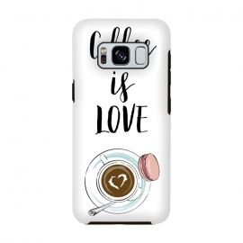 Coffee is love by Martina (love,heart,valentine,valentines day,coffee,drink,stylish ,modern,feminine,cup of coffee,macaron,typography,quote)