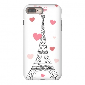 iPhone 8/7 plus  Paris Love by Martina (love,heart,valentine,valentines day,paris,france,eiffel tower,travel,traveling,europe,stylish,illustration,feminine,girly)