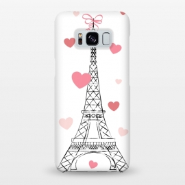 Galaxy S8+  Paris Love by Martina (love,heart,valentine,valentines day,paris,france,eiffel tower,travel,traveling,europe,stylish,illustration,feminine,girly)