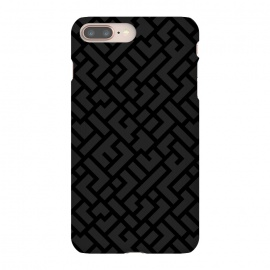 iPhone 8/7 plus  Black Labyrinth by  (Texture, Pattern, Geometry, Vector, Digital art, geometric, Minimal, Minimalistic, cover)