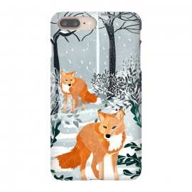 iPhone 8/7 plus  Fox Snow Walk by  (graphic, watercolor, fox, animal, animal print, wild, snow, winter, nature, trees, red, holidays, new years, christmas)