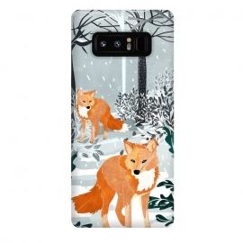Galaxy Note 8  Fox Snow Walk by Uma Prabhakar Gokhale (graphic, watercolor, fox, animal, animal print, wild, snow, winter, nature, trees, red, holidays, new years, christmas)