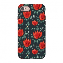 iPhone 8/7  Red Tulips Dark Floral Pattern by Boriana Giormova