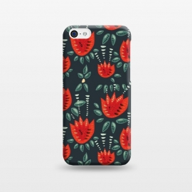 iPhone 5C  Red Tulips Dark Floral Pattern by Boriana Giormova