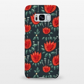 Galaxy S8+  Red Tulips Dark Floral Pattern by Boriana Giormova