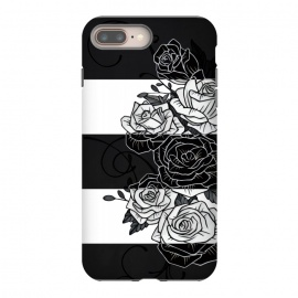 iPhone 8/7 plus  Inverted Roses by Nicklas Gustafsson (rose,roses,flower,flowers,swirls,leaf,leaves,striped,stripes,black and white,tattoo,inverted,classic)