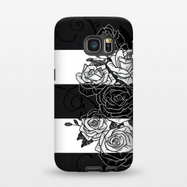 Galaxy S7  Inverted Roses by Nicklas Gustafsson (rose,roses,flower,flowers,swirls,leaf,leaves,striped,stripes,black and white,tattoo,inverted,classic)
