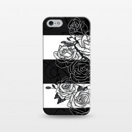 iPhone 5/5E/5s  Inverted Roses by Nicklas Gustafsson (rose,roses,flower,flowers,swirls,leaf,leaves,striped,stripes,black and white,tattoo,inverted,classic)