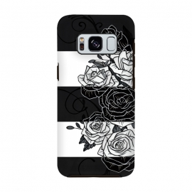 Galaxy S8  Inverted Roses by Nicklas Gustafsson (rose,roses,flower,flowers,swirls,leaf,leaves,striped,stripes,black and white,tattoo,inverted,classic)