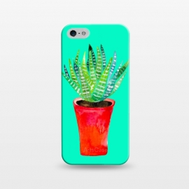 iPhone 5/5E/5s  Potted Succulent  by Amaya Brydon (succulent,texture,plant,botanical,red,pink,greenery,tropical,desert)