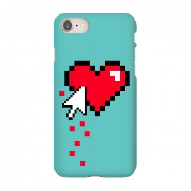 iPhone 8/7  Broken 8 bits Heart I by Dellán (heart,pixel,8 bits,retro,vintage,gamer,computer,love,hurt,funny,mouse cursor arrow,80[s,90's)