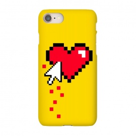 iPhone 8/7  Broken 8 bits Heart II by Dellán (heart,pixel,love,funny,80's,90's,8 bits,gamer,retro,vintage,retro gamer,geek,nerd,hipster,yellow,bloody)