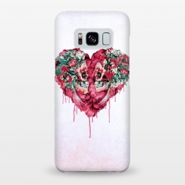 Galaxy S8+  Forever Love by Riza Peker (skulls,love,red,heart,botanical,flowers)