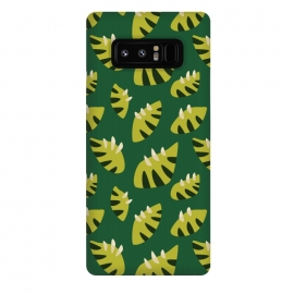 Galaxy Note 8  Clawed Abstract Green Leaf Pattern by Boriana Giormova
