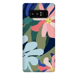 Galaxy Note 8  The Sweetest Thing by  (acrylic, floral, nature, wild, jungle, forest, botanical, pink, blue, green, exotic, dark, leaves, blossom, flowers, bloom)