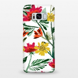 Galaxy S8+  Next Spring by Uma Prabhakar Gokhale (acrylic, nature, blossom, bloom, flowers, spring, botanical, flourish, warm, yellow, pink, red, green, fresh, exotic, colorful)