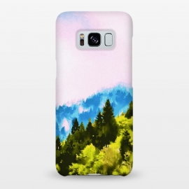 Galaxy S8+  Forks by Uma Prabhakar Gokhale (watercolor, nature, landscape, wild, mountain, travel, trees, sky, blue, green, pink, pastel, view, forest, twilight, adventure)