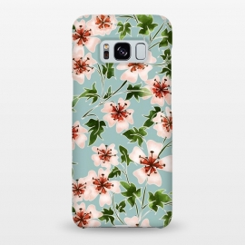 Galaxy S8+  Sadabahar by Uma Prabhakar Gokhale (graphic, watercolor, pattern, sadafuli, floral, nature, delicate, blush, pink, leaves, green, grey, subtle, exotic, blossom, floursih, bloom, flowers)