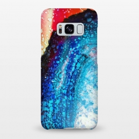 Galaxy S8+  Paint splattered marble blue red by Oana