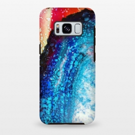 Galaxy S8 plus  Paint splattered marble blue red by
