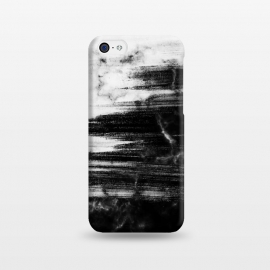 iPhone 5C  Scratched half black half white brushed marble by Oana