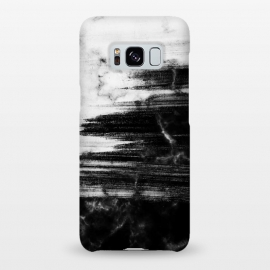 Galaxy S8+  Scratched half black half white brushed marble by Oana