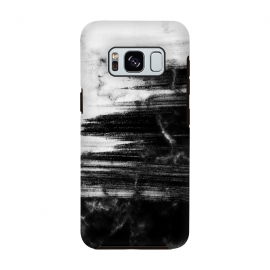 Galaxy S8  Scratched half black half white brushed marble by Oana