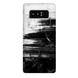 Galaxy Note 8  Scratched half black half white brushed marble by Oana