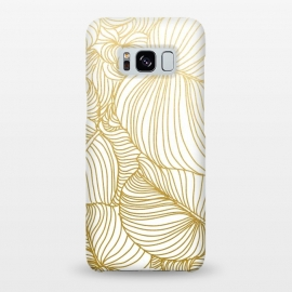 Galaxy S8+  Wilderness Gold by Uma Prabhakar Gokhale (graphic, pattern, gold, golden, metallic, single color, minimal, leaves, nature, hand drawn, botanical, foliage, flora, exotic, tropical, line art)