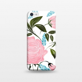 iPhone 5C  Rosy v2 by Uma Prabhakar Gokhale (watercolor, pattern, roses, rose, floral, exotic, flowers, bloom, blossom, pink, blush, pastel, blue, green, minimal, nature, botanical, leaves)