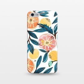 iPhone 5/5E/5s  Fruit Shower by Uma Prabhakar Gokhale (graphic, pattern, watercolor, fruits, fruit pattern, fresh, delicious, food, tropical, orange, citrus, leaves, blue, orangecoral, yellow, bold, colorful, exotic, botanical)