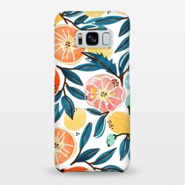 Galaxy S8+  Fruit Shower by Uma Prabhakar Gokhale (graphic, pattern, watercolor, fruits, fruit pattern, fresh, delicious, food, tropical, orange, citrus, leaves, blue, orangecoral, yellow, bold, colorful, exotic, botanical)