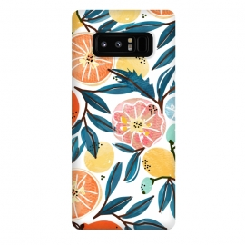 Galaxy Note 8  Fruit Shower by  (graphic, pattern, watercolor, fruits, fruit pattern, fresh, delicious, food, tropical, orange, citrus, leaves, blue, orangecoral, yellow, bold, colorful, exotic, botanical)