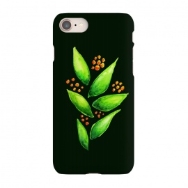 iPhone 8/7  Abstract watercolor green plant with orange berries by Boriana Giormova