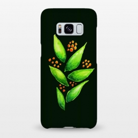 Galaxy S8+  Abstract watercolor green plant with orange berries by Boriana Giormova