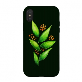 iPhone X  Abstract watercolor green plant with orange berries by Boriana Giormova