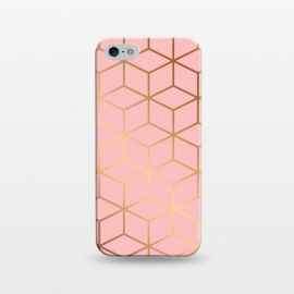 iPhone 5/5E/5s  Pink & Gold Geometry 011 by Jelena Obradovic