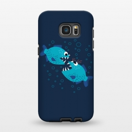 Galaxy S7 EDGE  Gossiping Blue Cartoon Piranha Fish by Boriana Giormova