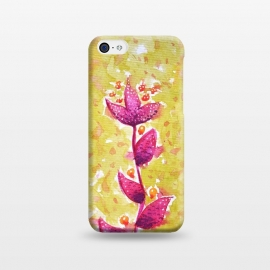 iPhone 5C  Abstract Watercolor Flower In Purple And Green by Boriana Giormova