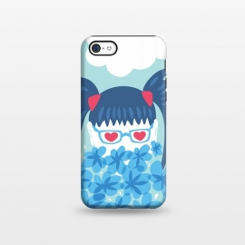iPhone 5C  Geek Girl Behind Blue Flowers Waiting For Spring by Boriana Giormova