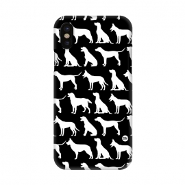 iPhone Xs / X  Pop Dogs by Paula Lukey (dogs,dog,dog phonecase,dog pattern,dog design,black and white,dog breeds)
