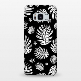 Galaxy S8+  Monstera Leaves Black and White by Paula Lukey