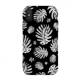 iPhone X  Monstera Leaves Black and White by Paula Lukey (monstera,monstera leaf,leaves,black and white,tropical leaf,beach print,tropical print,plant,tropical plant,jungle,jungle plant)