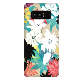 Galaxy Note 8  Dalia by  (graphic, pattern, floral, nature, beautiful, understated, minimal, subtle, black, yellow, coral, pink, blue, turquoise, white, blossom, exotic, bloom)
