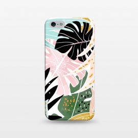 iPhone 5/5E/5s  Veronica by Uma Prabhakar Gokhale (graphic, pattern, watercolor, nature, tropical, pastel, blush, monstera, banana leaves, banana leaf, exotic, botanical, abstract, modern art, pink, black, red, white, minimal)