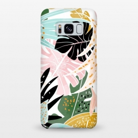 Galaxy S8+  Veronica by Uma Prabhakar Gokhale (graphic, pattern, watercolor, nature, tropical, pastel, blush, monstera, banana leaves, banana leaf, exotic, botanical, abstract, modern art, pink, black, red, white, minimal)