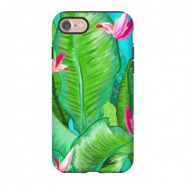 iPhone 8/7  Banana Floral by Uma Prabhakar Gokhale (acrylic, tropical, exotic, nature, floral, flowers, lily pond, banana leaves, banana leaf, banana floral, leaves, pink, blue, green)